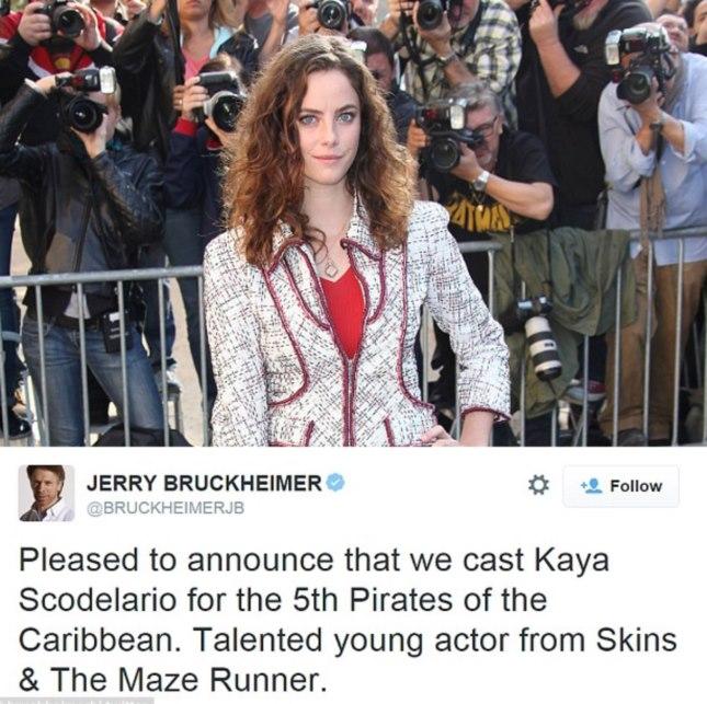 Confermata l attrice Kaya Scodelario come protagonista femminile nel  prossimo film Pirati dei Caraibi 5- Dead Men Tell No Tales. 48e99015ab10