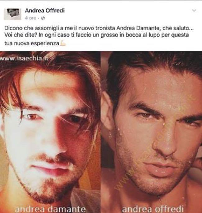 Uomini e donne Andrea Offredi e Andrea Damante si somigliano