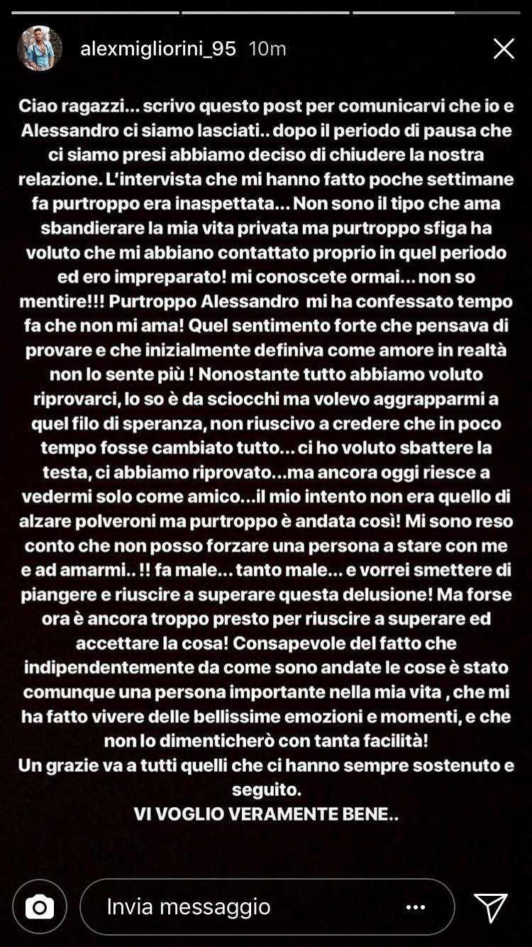 Alex Migliorini e Alessandro D'Amico storia finita un altro trono gay finisce nel nulla