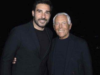 Edoardo Leo con Giorgio Armani per Milano moda uomo
